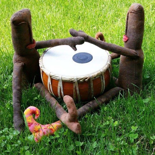 Beboodles learning to drum.