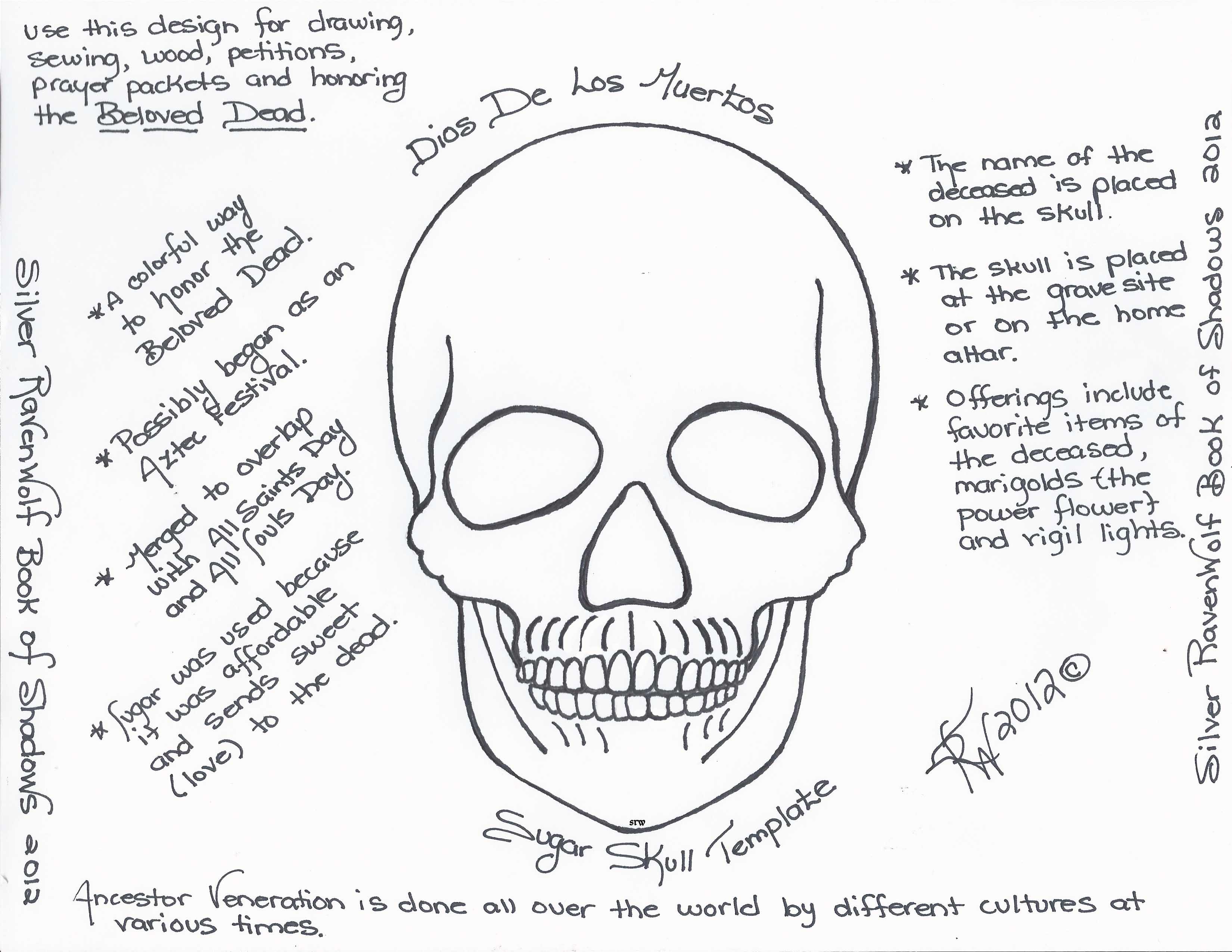 Magick Notes Dios De Los Muertos Sugar Skull Template Silver
