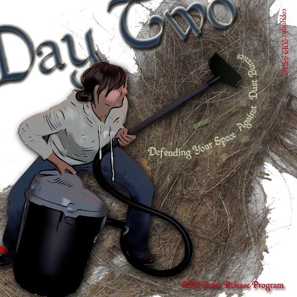 Samantha Trayer in battle against the mega dust bunny!