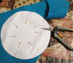 Pin the pattern to the material and cut out your circle.