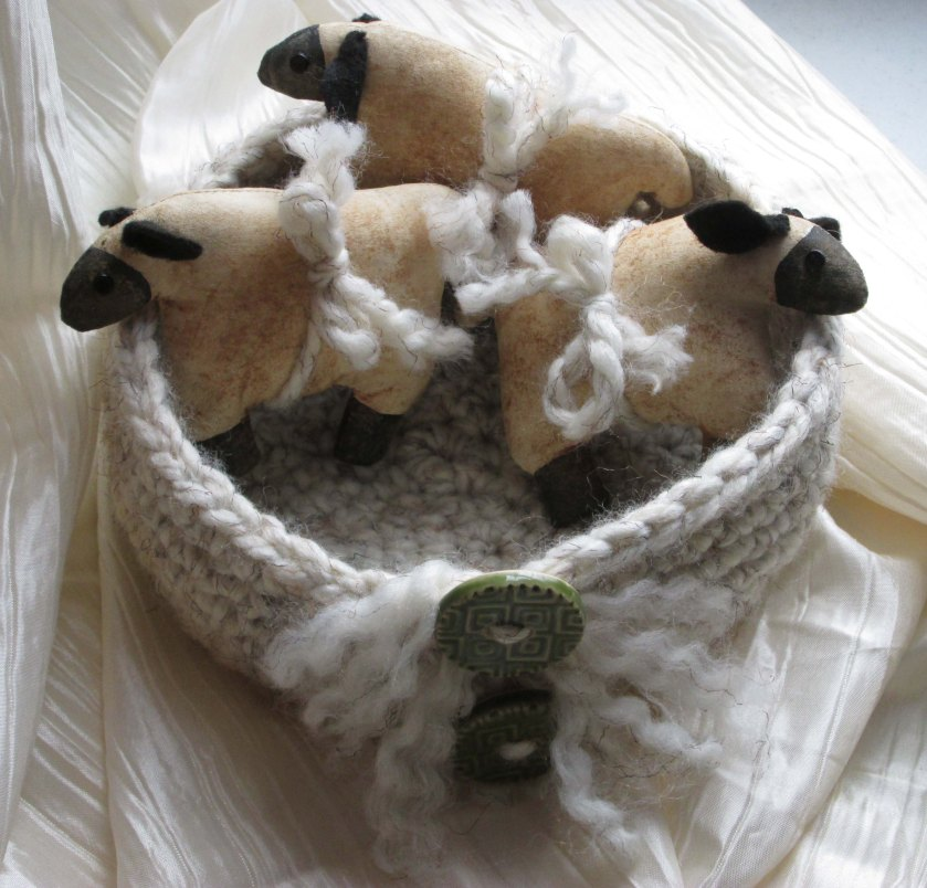 Primitive Grunged Ornie Sheep in crochet basket by Silver RavenWolf
