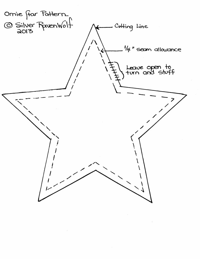 This pattern makes a six inch star.  Can also be used for felt projects.