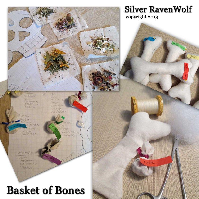 Steps for making the basket of bones.