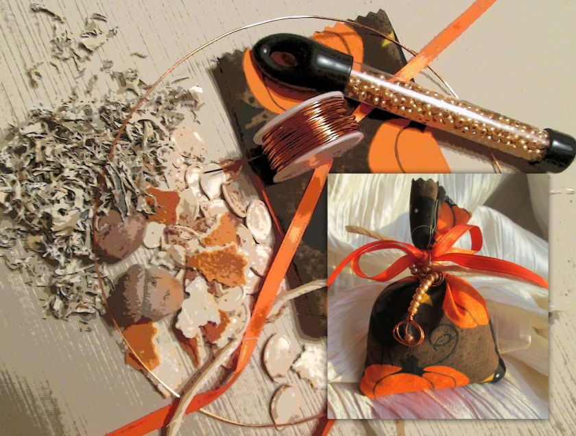 This Prosperity Conjuring Bag uses Oak Moss, one Acorn gathered from the woods, one whole Nutmeg, orange peel, a quartz crystal, and your dressed pumpkin seeds.  Copper wire helps to hold the magickal charge.  The golden beads, ribbon, and jute add a decorative touch.