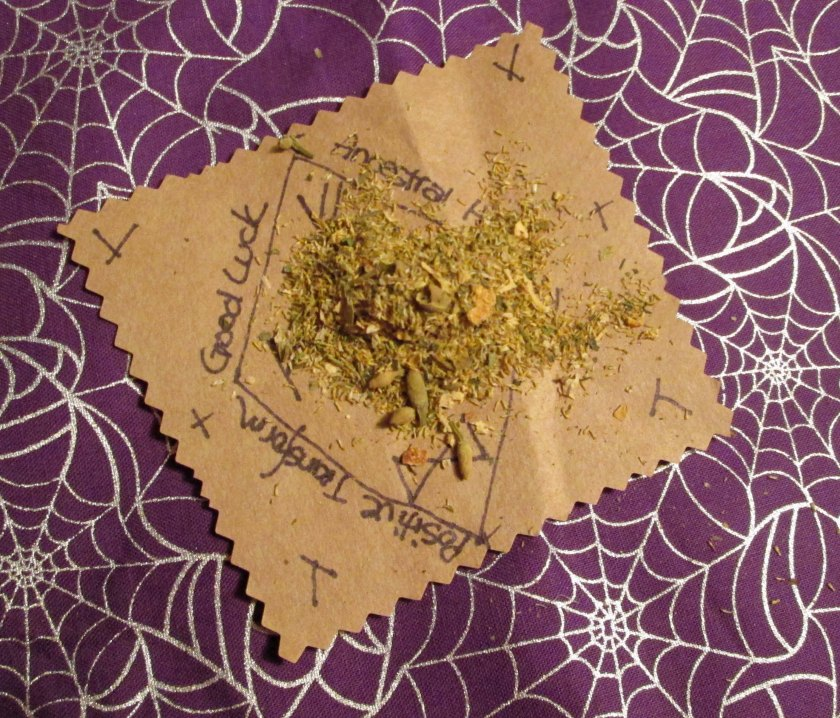This paper charm incorporates Good Luck, Assistance from the Ancestors and more using runes, sigils, and an herbal mix.