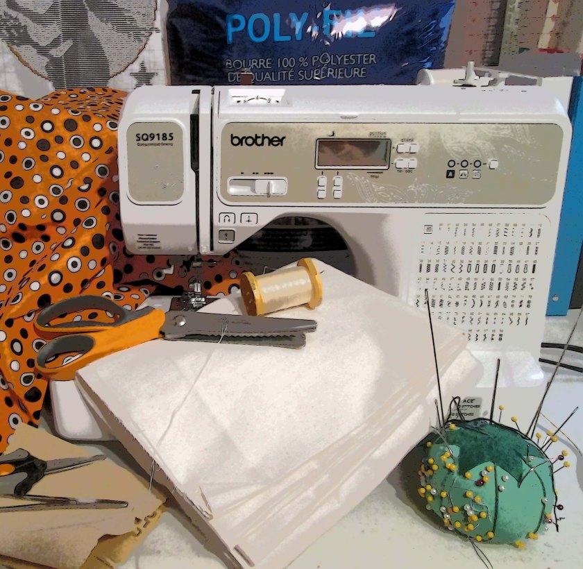 Sewing supplies for Priscilla the Pumpkin.