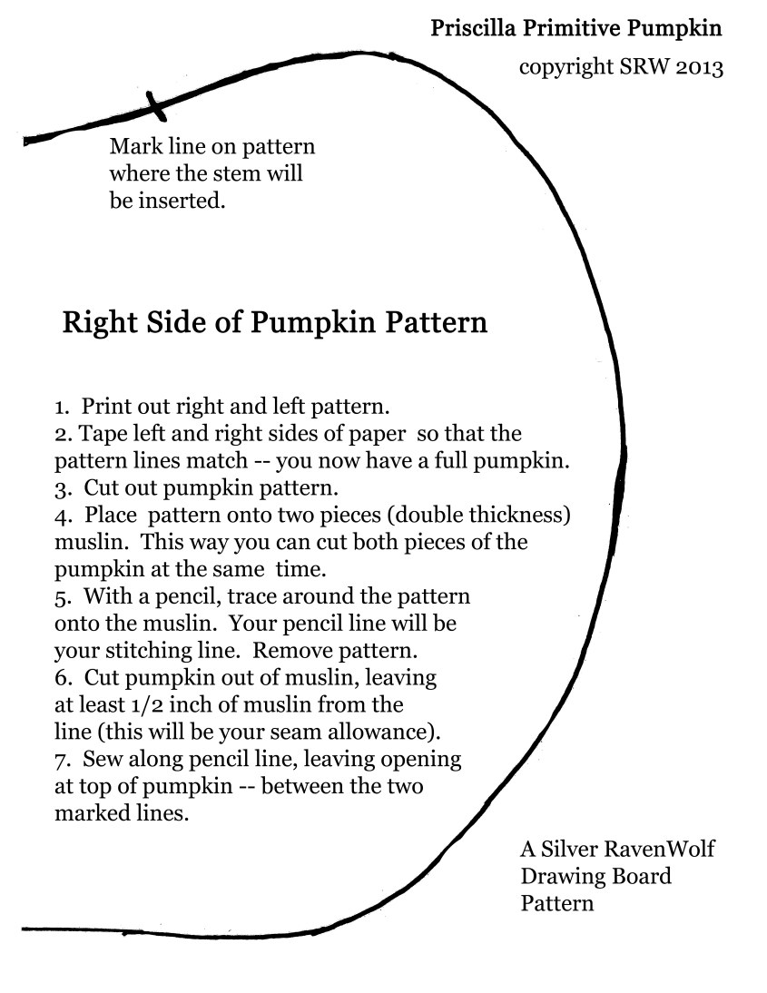 Right side of pumpkin pattern.