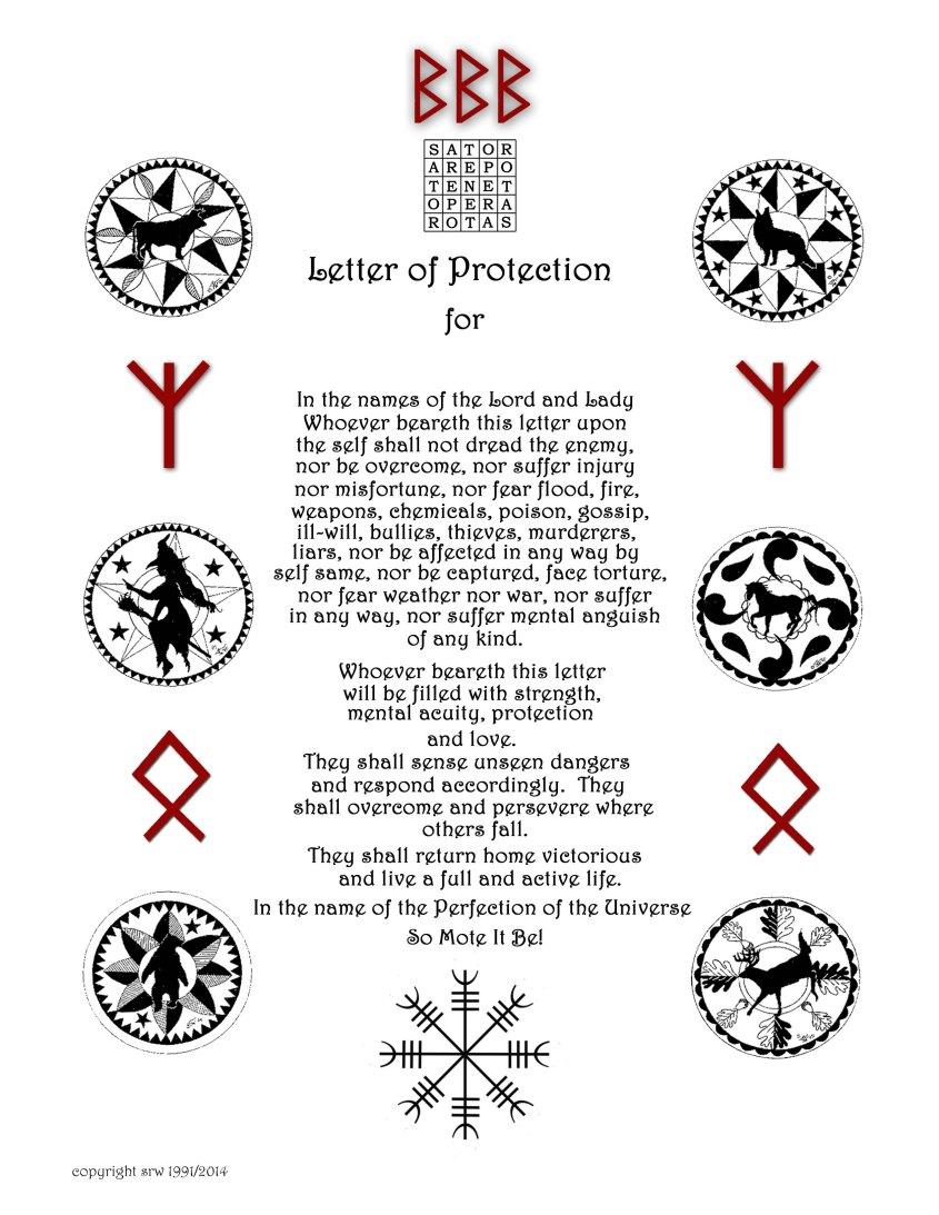 Pagan Himmelsbrief (Letter of Protection) designed by Silver RavenWolf