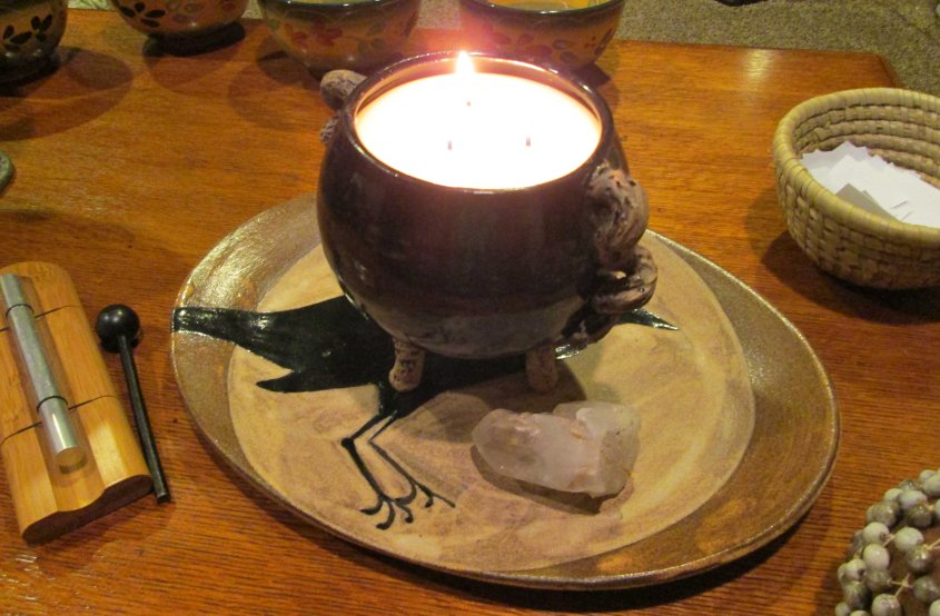 Cauldron Candle poured on the Scorpio Moon in preparation for our healing circle.